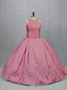 Pink Quinceanera Gown Sweet 16 and Quinceanera with Embroidery Scoop Sleeveless Zipper