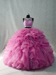 Organza Scoop Brush Train Beading and Ruffles Quince Ball Gowns in Pink