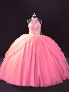 Pink Sleeveless Beading and Pick Ups Ball Gown Prom Dress
