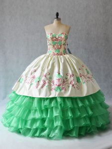 Custom Designed Sweetheart Sleeveless Organza Quinceanera Dresses Embroidery and Ruffled Layers Lace Up