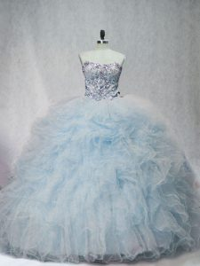 Flare Light Blue Womens Party Dresses Sweet 16 and Quinceanera with Beading and Ruffles Sweetheart Sleeveless Brush Train Lace Up