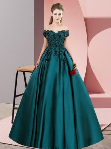 Superior Teal Off The Shoulder Zipper Lace Ball Gown Prom Dress Sleeveless