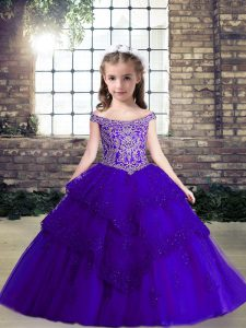 Purple Tulle Lace Up Off The Shoulder Sleeveless Floor Length Little Girls Pageant Dress Wholesale Beading and Lace and Appliques