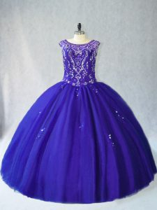 Dynamic Scoop Sleeveless Lace Up Quinceanera Dresses Royal Blue Tulle