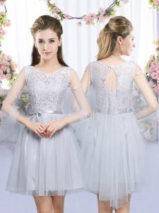 Low Price Grey Tulle Lace Up Quinceanera Court of Honor Dress Sleeveless Mini Length Lace and Belt