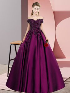 Sleeveless Satin Floor Length Zipper Ball Gown Prom Dress in Purple with Lace