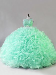 New Arrival Fabric With Rolling Flowers Scoop Sleeveless Zipper Beading and Ruffles Sweet 16 Dress in Apple Green