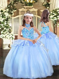 Organza Strapless Sleeveless Lace Up Appliques Custom Made Pageant Dress in Blue