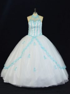 Blue And White Halter Top Neckline Appliques Quinceanera Gowns Sleeveless Lace Up