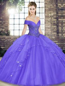 Affordable Lavender Tulle Lace Up 15 Quinceanera Dress Sleeveless Floor Length Beading and Ruffles