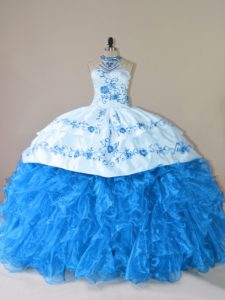 Modest Blue Lace Up Sweet 16 Dress Embroidery and Ruffles Sleeveless Court Train