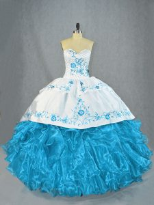 Baby Blue Sleeveless Beading and Ruffles Lace Up Sweet 16 Dresses
