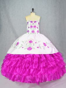 Floor Length Ball Gowns Sleeveless Fuchsia 15 Quinceanera Dress Lace Up