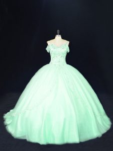 Luxury Court Train Ball Gowns 15 Quinceanera Dress Apple Green Off The Shoulder Tulle Sleeveless Lace Up