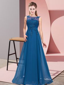 Blue Sleeveless Chiffon Zipper Vestidos de Damas for Wedding Party