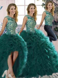 Sleeveless Floor Length Beading and Ruffles Lace Up Vestidos de Quinceanera with Peacock Green