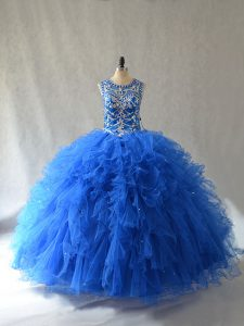 Sleeveless Beading and Ruffles Side Zipper Quinceanera Gowns