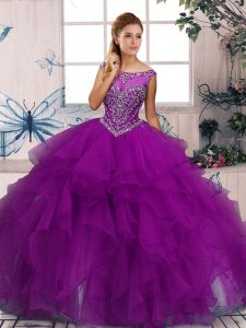 Fabulous Purple Sweet 16 Dresses Military Ball and Sweet 16 and Quinceanera with Beading and Ruffles Scoop Sleeveless Zipper