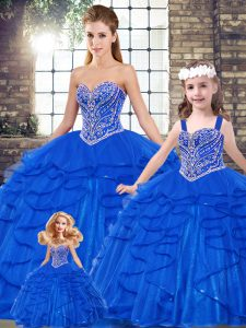 Popular Royal Blue Quince Ball Gowns Military Ball and Sweet 16 and Quinceanera with Beading and Ruffles Sweetheart Sleeveless Lace Up