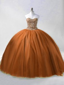 Exquisite Brown Ball Gowns Beading Vestidos de Quinceanera Lace Up Tulle Sleeveless Floor Length
