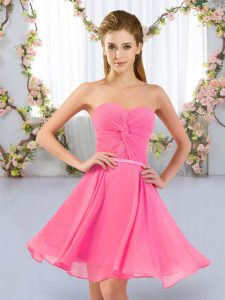 Sophisticated Rose Pink Lace Up Damas Dress Ruching Sleeveless Mini Length