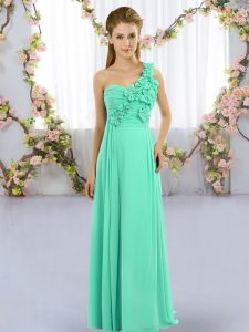 Sweet Floor Length Empire Sleeveless Turquoise Quinceanera Court Dresses Lace Up