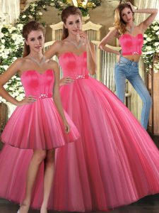 Floor Length Coral Red 15 Quinceanera Dress Sweetheart Sleeveless Lace Up
