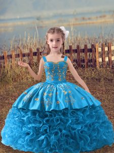 Baby Blue Ball Gowns Embroidery Kids Pageant Dress Lace Up Fabric With Rolling Flowers Sleeveless