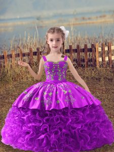 Lilac Sleeveless Embroidery Lace Up Kids Pageant Dress