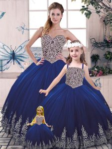 Top Selling Scoop Sleeveless Lace Up Sweet 16 Dresses Royal Blue Tulle