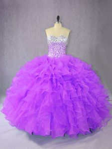 Noble Purple Quinceanera Dresses Sweet 16 and Quinceanera with Beading and Ruffles Sweetheart Sleeveless Lace Up