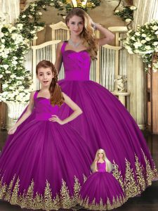 Fuchsia Lace Up Sweet 16 Dress Embroidery Sleeveless Floor Length