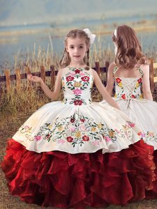 White And Red Organza Lace Up Scoop Sleeveless Floor Length Little Girls Pageant Gowns Embroidery and Ruffles
