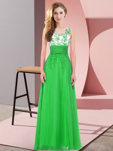 Free and Easy Sleeveless Chiffon Floor Length Backless Vestidos de Damas in Green with Appliques