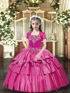 Charming Hot Pink Ball Gowns Taffeta Straps Sleeveless Beading Floor Length Lace Up Little Girls Pageant Dress