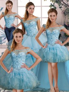 Suitable Organza Off The Shoulder Sleeveless Lace Up Beading and Ruffles Sweet 16 Dress in Light Blue
