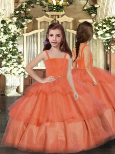 Hot Selling Orange Red Sleeveless Ruffled Layers Floor Length Pageant Dress for Teens