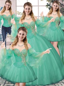 Stunning Sleeveless Tulle Floor Length Lace Up Ball Gown Prom Dress in Turquoise with Beading