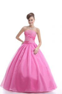 Rose Pink Strapless Lace Up Embroidery Ball Gown Prom Dress Sleeveless