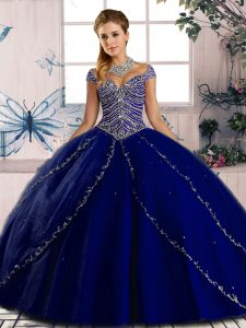 Designer Cap Sleeves Beading Lace Up Quinceanera Dress with Royal Blue Brush Train