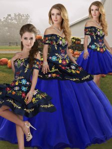 Best Royal Blue Lace Up Off The Shoulder Embroidery 15th Birthday Dress Tulle Sleeveless
