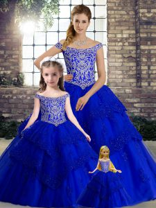Cheap Sleeveless Beading and Lace Lace Up 15 Quinceanera Dress with Royal Blue Brush Train