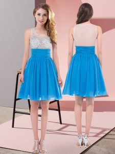 Baby Blue Empire Scoop Sleeveless Chiffon Mini Length Side Zipper Beading Dama Dress