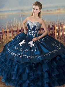 Navy Blue Satin and Organza Lace Up Sweetheart Sleeveless Floor Length Quinceanera Gowns Embroidery and Ruffles