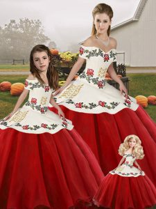 White And Red Sleeveless Embroidery Floor Length Quince Ball Gowns