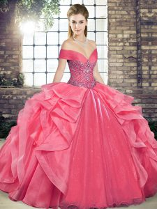 Coral Red Lace Up Off The Shoulder Beading and Ruffles Ball Gown Prom Dress Organza Sleeveless