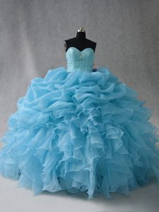 Sweetheart Sleeveless Sweet 16 Dresses Floor Length Beading and Ruffles and Pick Ups Baby Blue Organza