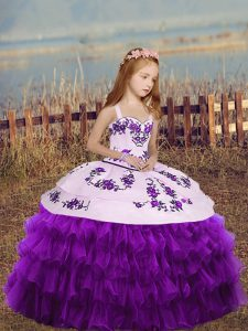 Exquisite Eggplant Purple Glitz Pageant Dress Party and Wedding Party with Embroidery and Ruffled Layers Straps Sleeveless Lace Up