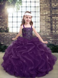 Purple Sleeveless Tulle Lace Up Kids Formal Wear for Party and Sweet 16 and Wedding Party