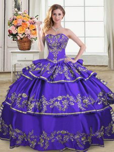 Classical Purple Quinceanera Gown Sweet 16 and Quinceanera with Embroidery and Ruffled Layers Sweetheart Sleeveless Lace Up
